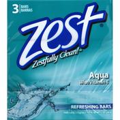 Zest Refreshing Bars Aqua - 3 CT