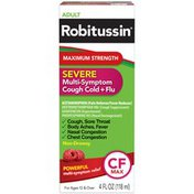 Robitussin Syrup Adult CF Max Severe Maximum Strength Liquid Pain Reliever/Fever Reducer/Cough Suppressant/Expectorant/Nasal Decongestant