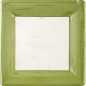 """Caspari Dinner Plates Plastic Coated Buffet Weight 10"""" Grosgrain Border Moss Green"""