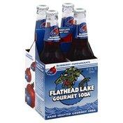 Flathead Lake Monster Soda, Gourmet, Blueberry-Pomegranate, 4 Pack, Box
