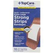 TopCare Strong Strips, Sterile Antibacterial First Aid Antiseptic All One Size Extra Large Bandages