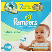 Pampers Wipes, Natural Clean, Unscented, Pop-Top Packs