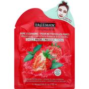 Freeman Sheet Mask, Strawberry + Mint, Pore Cleansing