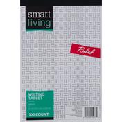 Smart Living Writing Tablet, White, Ruled, 100 Sheet