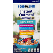Food Lion Instant Oatmeal, Fruit & Cream, Variety Pack