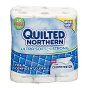 Quilted Northern Bathroom Tissue Ultra Soft & Strong With Cleanstretch - 18 CT