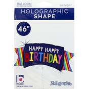 Betallic Balloon, Happy Happy Birthday, Holographic Shape, 46 Inch