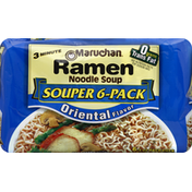 Maruchan Ramen Noodle Soup, Oriental Flavor, Souper 6-Pack
