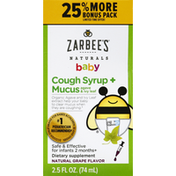 Zarbee's Naturals Cough Syrup + Mucus, Agave & Ivy Leaf, Natural Grape Flavor, Baby
