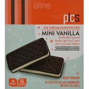 PICS Ice Cream Sandwiches, Vanilla, Mini, 16 Pack