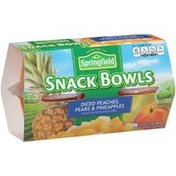 Springfield Snack Bowls Diced Peaches, Pears & Pineapples Fruit Cups