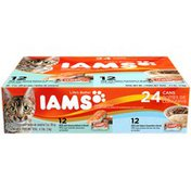 IAMS 12 Pate with Savory Salmon/12 Pate with Select Oceanfish Variety Pack Cat Food