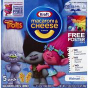 Kraft Macaroni & Cheese Dinner, DreamWorks Trolls, 5 Pack