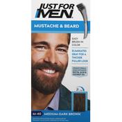 Just For Men Mustache & Beard Brush-In Color Gel, Medium Dark Brown M-40
