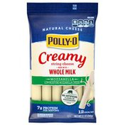 Polly-O Creamy String Cheese Mozzarella Cheese Snacks with Whole Milk