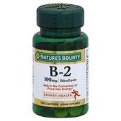 Nature's Bounty Vitamin B-2, 100 mg, Coated Tablets