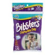 Bibsters Disposable Bibs - 6mo+ L/G - 12 CT