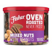 Fisher Oven Roasted Never Fried Mixed Nuts with Peanuts with Sea Salt
