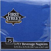 First Street Beverage Napkins, Cobalt, 3-Ply