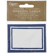 Caspari Adhesive Labels, Stripe Border-Blue