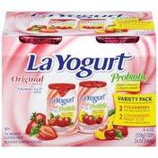 La Yogurt Original Lowfat Probiotic Strawberry/Strawberry Fruit Variety Pack Yogurt