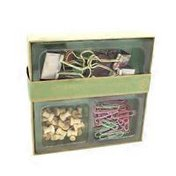U Brands 12 Small & 6 Large Binder Clips  Gold Prongs, 35 Wooden Pins & 120 Paper Clips In Craft Box Wood Value Box