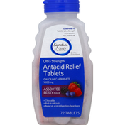 Signature Care Antacid Relief, Ultra Strength, 1000 mg, Chewable Tablets, Assorted Berry Flavor