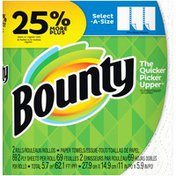 Bounty Select-A-Size Paper Towels, White, 2 Large Rolls = 25% More Sheets
