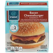 @ Ease Bacon Cheeseburger Fully Cooked Seasoned Beef Patty With Bacon & Process American Sharp Cheese On A Sesame Bun Sandwich