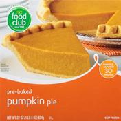 Food Club Pie, Pumpkin, Pre-Baked