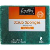 Essential Everyday Scrub Sponges, Heavy Duty, Long Lasting