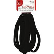 Donna Ponytail Holders, Seamless, Large, Black No. 22802