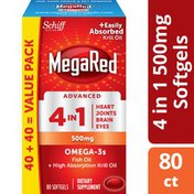 MegaRed Omega-3 Fish Oil + High Absorption Krill Oil Supplement 500mg, Advanced 4in1 Softgels