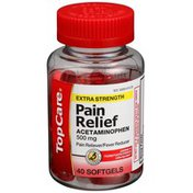TopCare Extra Strength Pain Relief Acetaminophen 500 Mg Pain Reliever/Fever Reducer Softgels