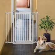 Richell Tall One-Touch Gate II Pressure Mount Step-Through Pet Gate in White