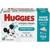 Huggies Simply Clean Scented Baby Wipes, 11 Flip-Top Packs (