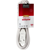 Essential Everyday Power Cord, Indoor, White, 15 Feet