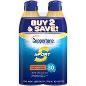 Coppertone Sport Sunscreen Spray SPF 30, Twin Pack