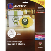 Avery Round Labels, Print-to-the-Edge, Laser, Ink Jet, Glossy White