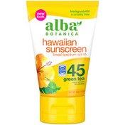 Alba Botanica Hawaiian Sunscreen Revitalizing Green Tea, SPF 45 Broad Spectrum