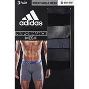 adidas Men's Sport Performance Mesh Boxer Briefs – 3 Pack - XL - Black/Onix/Black