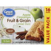 Great Value Cereal Bars,  Fruit & Grain, Apple Cinnamon, Value Pack