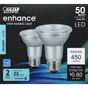 Feit Electric Light Bulbs, LED, Flood, Daylight, 5 Watts