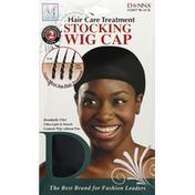 Donna Stocking Wig Cap, Black, Antibacterial