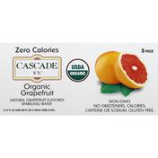 Cascade Ice Sparkling Water, Organic, Grapefruit, 8 Pack