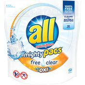 All Mighty Pacs Free Clear Oxi 38 Loads Laundry Detergent
