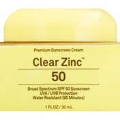 Sun Bum Sunscreen Cream, Clear Zinc, Broad Spectrum SPF 50