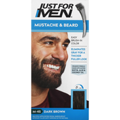 Just For Men Easy Brush-In Color, Mustache & Beard, Dark Brown M-45