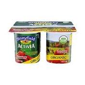 Activia Stonyfield Activia Organic Strawberry Lowfat Yogurt