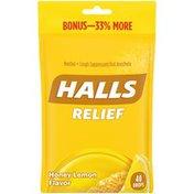 Halls Relief Honey Lemon Menthol Cough Suppressant/Oral Anesthetic Drops